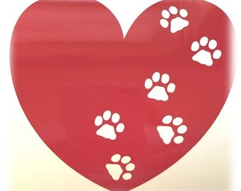PAW HEART Heart Decal - use on a Yeti, RTIC, or Ozark cup, Car window, Walls, Home WIndows, Kennels - Valentine Dog Paw