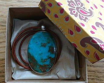 Beautiful Tibetan turquoise pendant, genuine turquoise, Tibetan turquoise, 925 sterling silver, leather cord, bohemian, boho, gifts for her