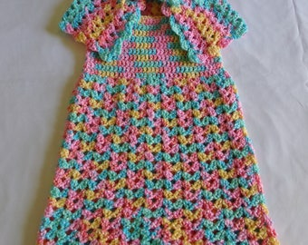 Hand Crocheted Baby Dress With Matching Shawl Size 6-12 month