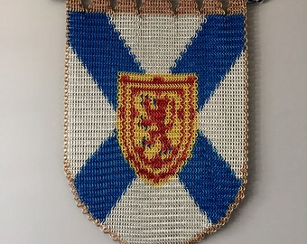 Shield of Nova Scotia Chainmail Inlay, Nova Scotia Banner, Chainmail Wall Hanging, Nova Scotia Shield Wall Hanging.