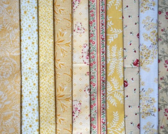 Assorted Shabby Chic Yellow Fabric - Fat Quarter Bundle - 10 pieces
