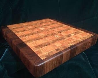 End-Grain Cutting Board (Walnut/Oak)