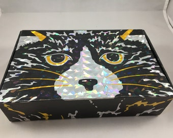 Vintage 1990s Black and Gold Cat Face Cardboard Pencil Box