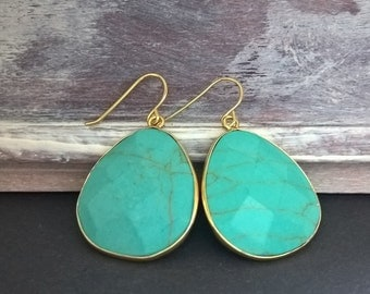 turquoise,turquoise earrings,gold earrrings, turquoise jewelry,gold jewelry,naturstone,Howlite