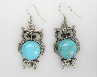 Owl Design Earring Set With Blue Turquoise Gemstone 18x32mm.P-TUR-0067