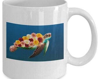 SEA TURTLE with ROSES - Fantasy Art Mug - Turtle Lover Gift - Tortoise - Rose Shell - 11 oz white coffee tea cup