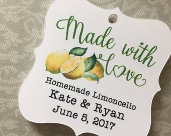 Limoncello Favor Tags, Made With Love Tags,Homemade Limocello Favors,Italian Themed Wedding Tags,Limoncello Bridal Shower Tags