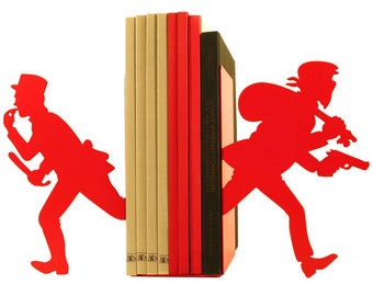 Pair of large bookends in metal policeman and robber