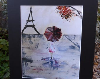 Red Umbrella Print, Lady with Umbrella, Eiffel Tower, Walking in the Rain, Paris Street, Girl's Room, Living room Decor, Mother's Day Gift