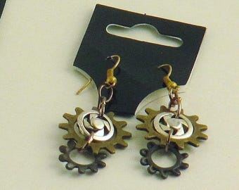 Cool Unique Gothic Steampunk Original Ear Gears Hook Earrings