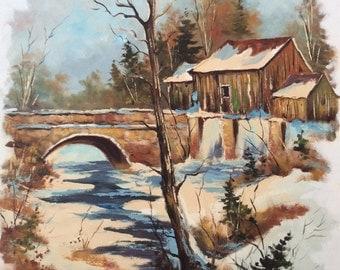 "Large original Walter Pranke oil painting 1976 Laurentian Quebec winter landscape 30"" x 24 "" Canadian artist"