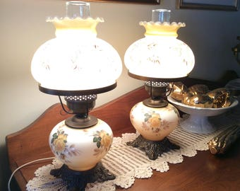 Vintage PAIR electric Hurricane lamps mid century rustic country home decor