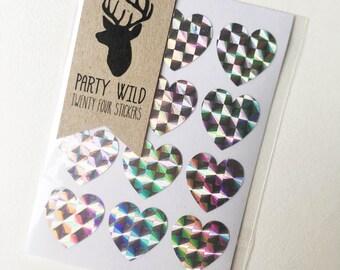 Mini Heart Stickers Pk24 - Holographic Silver