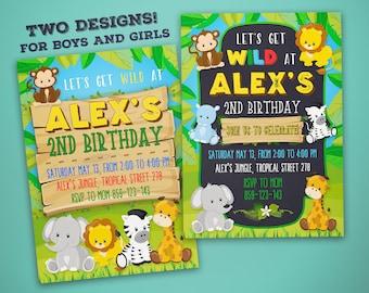 Jungle Invitation - Jungle Birthday Invitation - Zoo Birthday Invitation - Zoo Party Invitation - Jungle Party Invitation - Boys And Girls