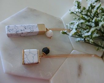Marble turquoise elegant handmade white black lava bead aromatherapy gold plated chain essential oil