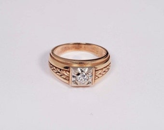 14K Yellow Gold Mens 1/3 ct. Diamond Ring, Size 9