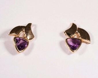 14K Yellow Gold Trillion Cut Amethyst Earrings