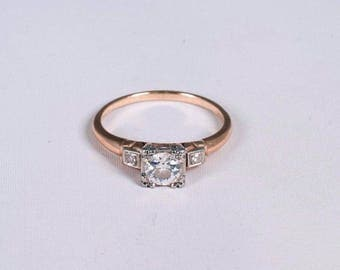 14K Yellow Gold 1940s Diamond Engagement Ring w/Older Cut Center, Size 6.75