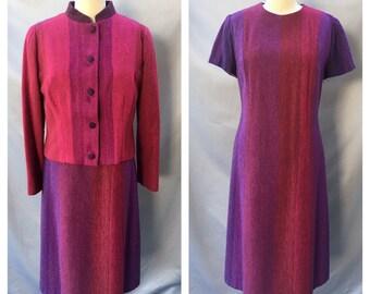Vintage Pink and Purple Striped Tweed Dress and Jacket