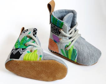 Cactus & Succulent Hightop Boots Soft Sole Baby Toddler Shoes Lace Up | Boxing Boots | Green Grey with Leather
