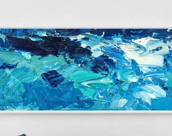 "96"" Extra Large Painting on Canvas Ocean Painting Abstract Art Extra Large Art Sea Painting Art for Living Room Decor Blue Art Painting Wave"