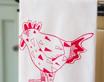 Red Rooster Tea Towel.  Original Design, Screen Printed in the UK on 100% Cotton.  Perfect gift for any home