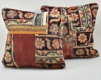 Vintage Pillow, Turkish Pillow, Rug Pillow, Oushak Pillow, Patchwork Pillow, Cushion Cover, Vintage Cushion, Two Pillow Covers, 50 x 50 cm