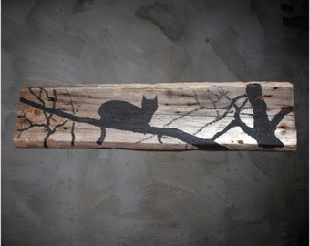 "FREE SHIPPING,Black Cat, Black and White, 95x25 cm, 37""x10"" in, Art on Wood, Acrylic art, Reclaimed wood, Branch, Silhouette, Wall decor"