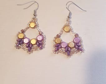 Flamenco earrings lavender and gold