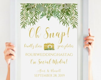 Oh Snap! Greenery Wedding Hashtag Sign, Wedding Reception Decor, Instagram Wedding Sign, Garden Wedding, Wedding Decorations, IDWS604_