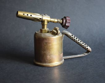 Antique Blow Torch on Gasoline, Made in Sweden - Vintage Brass Petrol Industrial Blow Lamp - Industrial Old Tool Design Home Decor 1940s.