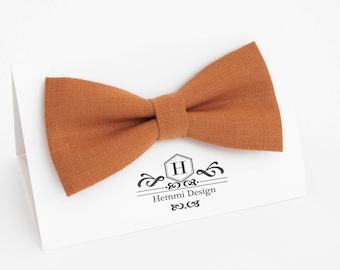 Orange Burnt Orange Linen Bow Tie For Wedding / Festival | Bow Tie For Groomsmen, Boy's, Toddler's Baby's Orange Bow Tie