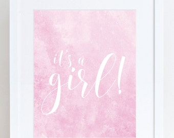 It's a Girl! 8x10 Baby Shower Printable Sign - Baby Shower Ideas - Party Sign - Instant Download!