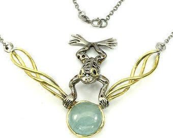 Aquamarine and Sapphire Frog Necklace - oh so cute! 86.00cts 18.5""