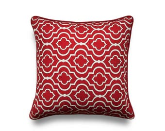 Red Throw Pillow Cover - Designer Pillow Cover - Modern Decor - Zippered Pillow Cover - Modern Pillow Cover - Red Pillow Cover