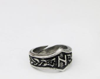 Hagalaz Viking Rune Letter H Runic Ring - Adjustable