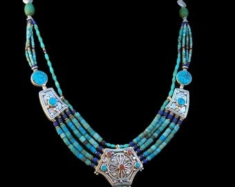 Turqouise, Coral, and Lapis Necklace, Silver