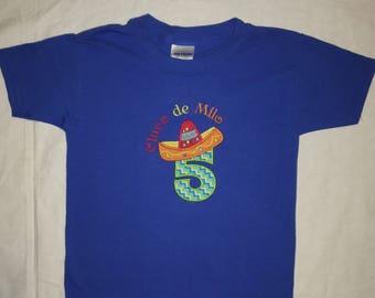 Custom appliqued Cinco de Mayo birthday shirt
