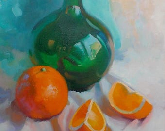 Oil painting/canvas/Oranges with a green bottle
