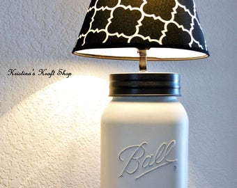 Gallon Size Mason Jar Lamp Distressed In Heirloom White with Shade, rustic, cottage chic, beach cottage, home decor, lighting