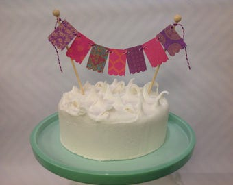 Cake topper bunting flags