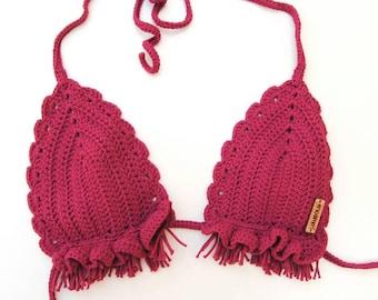 Crochet bikini, swimsuit Fuchsia lanandolab