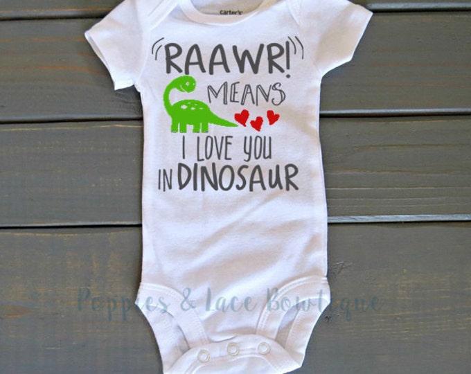 Dinosaur Bodysuit, Valentine's Day Shirt, Unisex Kids' Clothing, Funny Baby Clothes, Baby Shower Gift