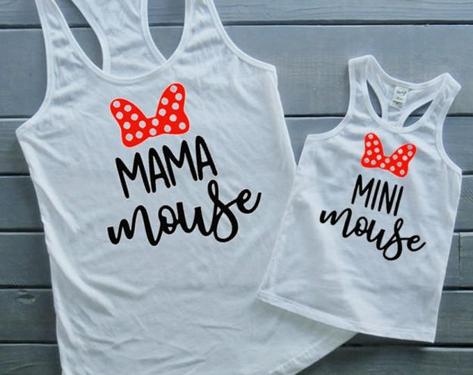 Mini Mouse Mommy & Me Set, Mama Shirt, Matching Shirts, Mouse Shirt, Gifts For Her, Vacation Shirts, Girls' Birthday Shirt