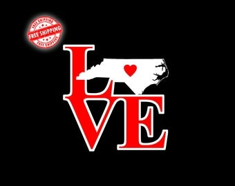 NC Decal, North Carolina Decal, NC, North Carolina, State Decal, Decals, Stickers, Car Decal, Window Decal, Home Decal, Laptop Decal, Love