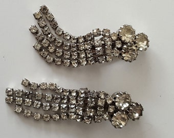 Vintage Rhinestone Comet Tail Earrings, Dangle Earrings, Clip Earrings, Unsigned