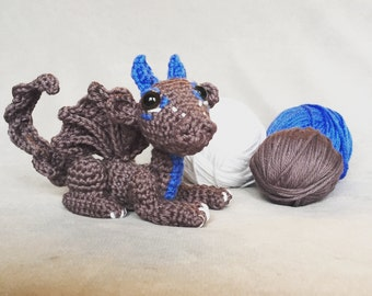 Amigurumi dragon, crochet baby bragon, grey stuffed toy, mythical creature, made to order
