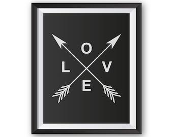 Love Wall Print, Arrow Wall Decor, Printable Wall Art, Love Wall Art, Love Art Printable, Printable Love, Printable Arrows, Love Prints