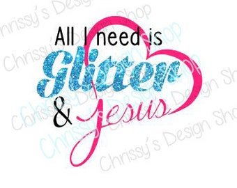 Glitter and Jesus SVG / religious svg / jesus heart SVG / dxf / eps / png / religious clip art / Jesus template / wood sign template