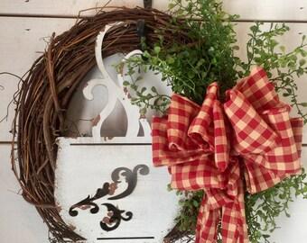 Grapevine wreath, cup of joe, coffee wreath, primitive, primitive wreath, rustic decor, home decor, wall decor, coffee lovers gift,farmhouse